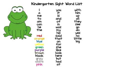 Staley Alyssa Kindergarten Sight Word List