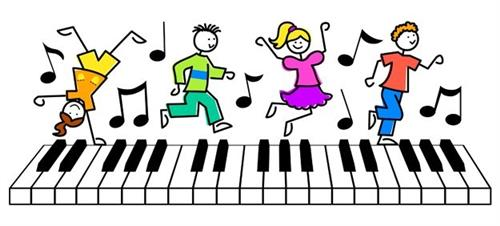 Comic children dancing on piano keys