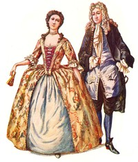 man and women dressed in old fashioned clothes